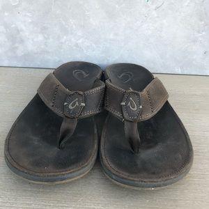 OluKai NUI Brown Leather Sandals Flip Flops Sz 13